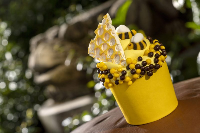 During the upcoming Earth Week Celebration from April 18 to 24, 2021, at Disney's Animal Kingdom Theme Park at Walt Disney World Resort in Lake Buena Vista, Fla., guests can find a selection of limited-time specialty items, including the Creature Comfort's Honey Bee Cupcake. (Kent Phillips, photographer)